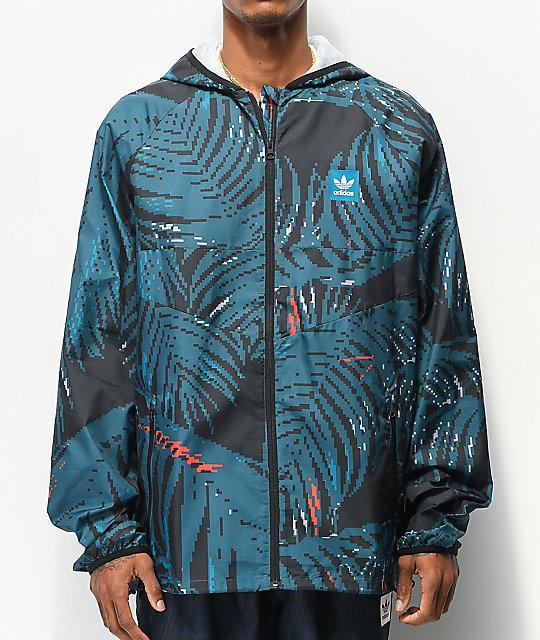 Adidas teal palm tree print windbreaker jacket