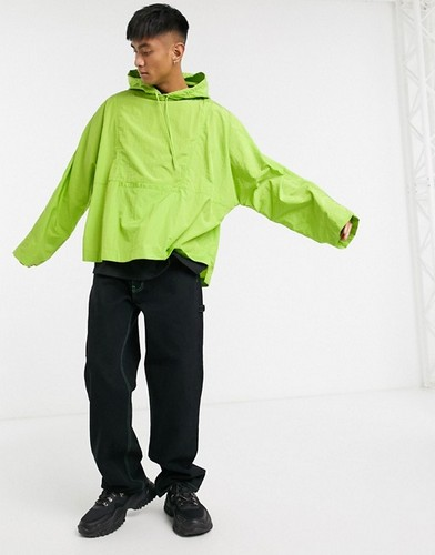 ASOS lime green oversized anorak windbreaker