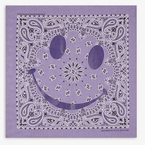 Awge purple bandana with smiley face