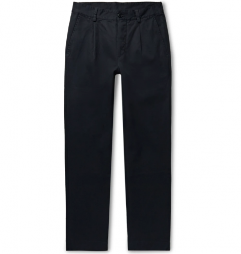 Bellerose Midnight-Blue Pleated Cotton Trousers
