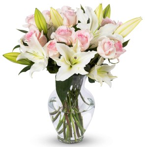 benchmark bouquets Light Pink Roses and White Oriental Lilies, With Vase (Fresh Cut Flowers), flower delivery services