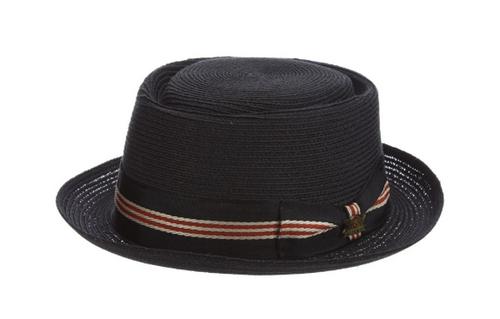 Biltmore black straw Dijon Porkpie hat