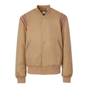 Burberry Harwell Icon Stripe Leather Trim Twill Bomber Jacket