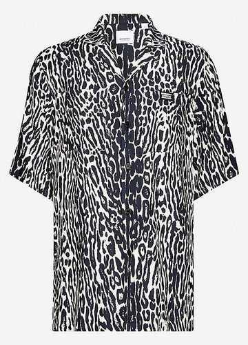 Burberry black and white animal print short sleeve shirt