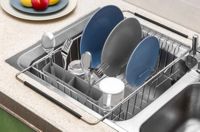 these over the sink dish drying racks eliminate the need for a sink-side balancing act
