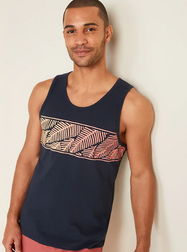 best tank top for men - Old Navy Soft Men's Tank Top with Tropical Leaf Print
