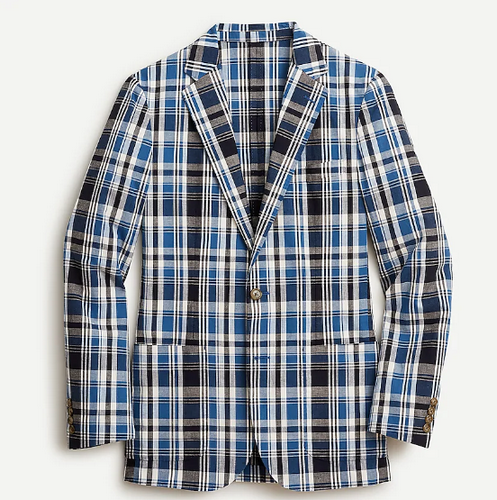 J.Crew unstructured blue and black plaid blazer