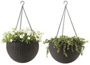 Keter Resin Rattan Set of 2 Round Hanging Planter Baskets