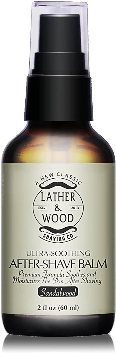 lather and wood shaving co aftershave balm sandalwood scent