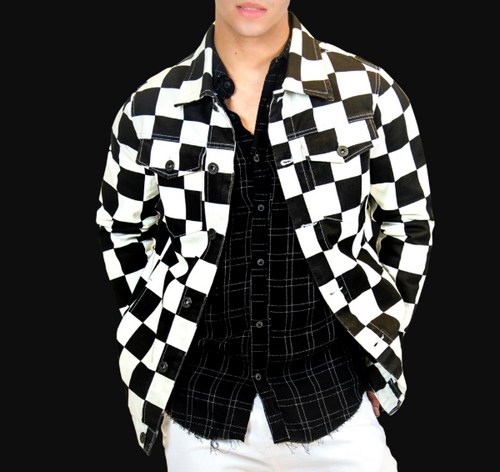 leorucci black and white checkerboard jacket
