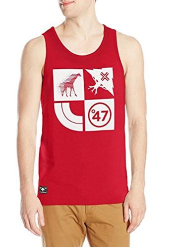 best mens tank top - LRG Graphic Print Red Men's Tank Top