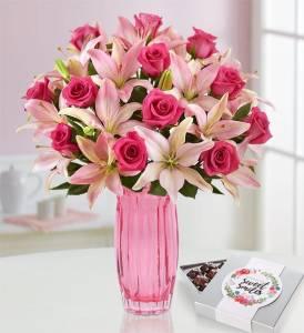 1800 flowers bouquet, magnificent pink rose & lily bouquet