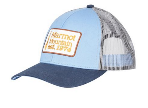 best hats for men - Marmot pale blue trucker hat