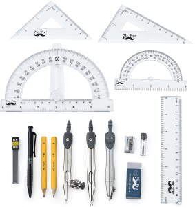 Mr. Pen- 15 Pcs Compass Set with Swing Arm Protractor