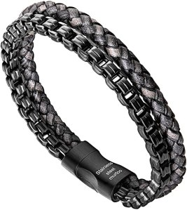murtoo Mens Bracelet Leather and Stainless Steel