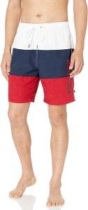Nautica Men's Quick Dry Classic Logo Tri-Block Series Swim Trunk