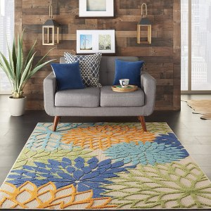 Nourison Aloha Indoor and Outdoor Floral Blue Rug