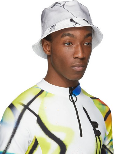 types of hats - Off-White black and white abstract print bucket hat