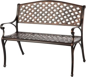 patio cast aluminum bench, outdoor bench, best outdoor bench