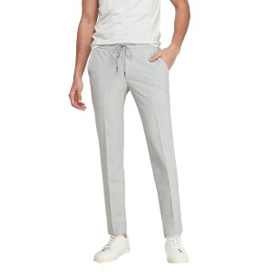 Extra Slim Light Gray Luxe Comfort Knit Drawstring Suit Pant