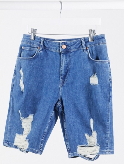 Asos Design denim stretch distressed shorts