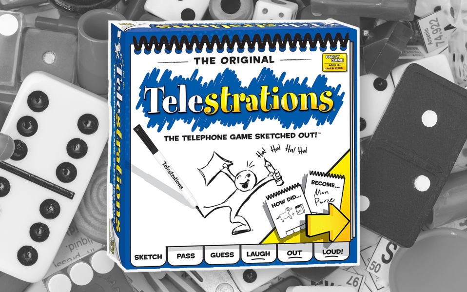 Telestrations board game, pictionary, fun board