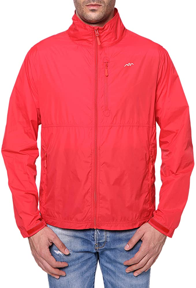 Trailside supply co red high neck windbreaker