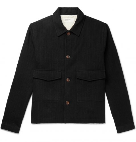 Universal Works Watchmen Pinstriped Brushed Cotton and Wool-Blend Jacket