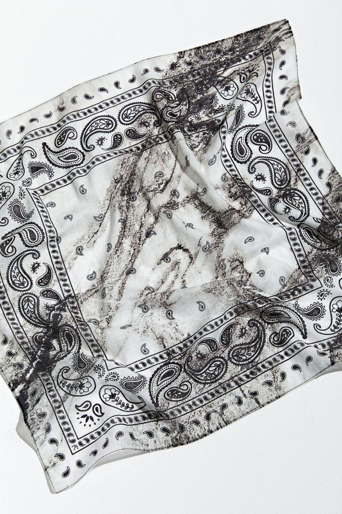 black and white tie dye paisley bandana