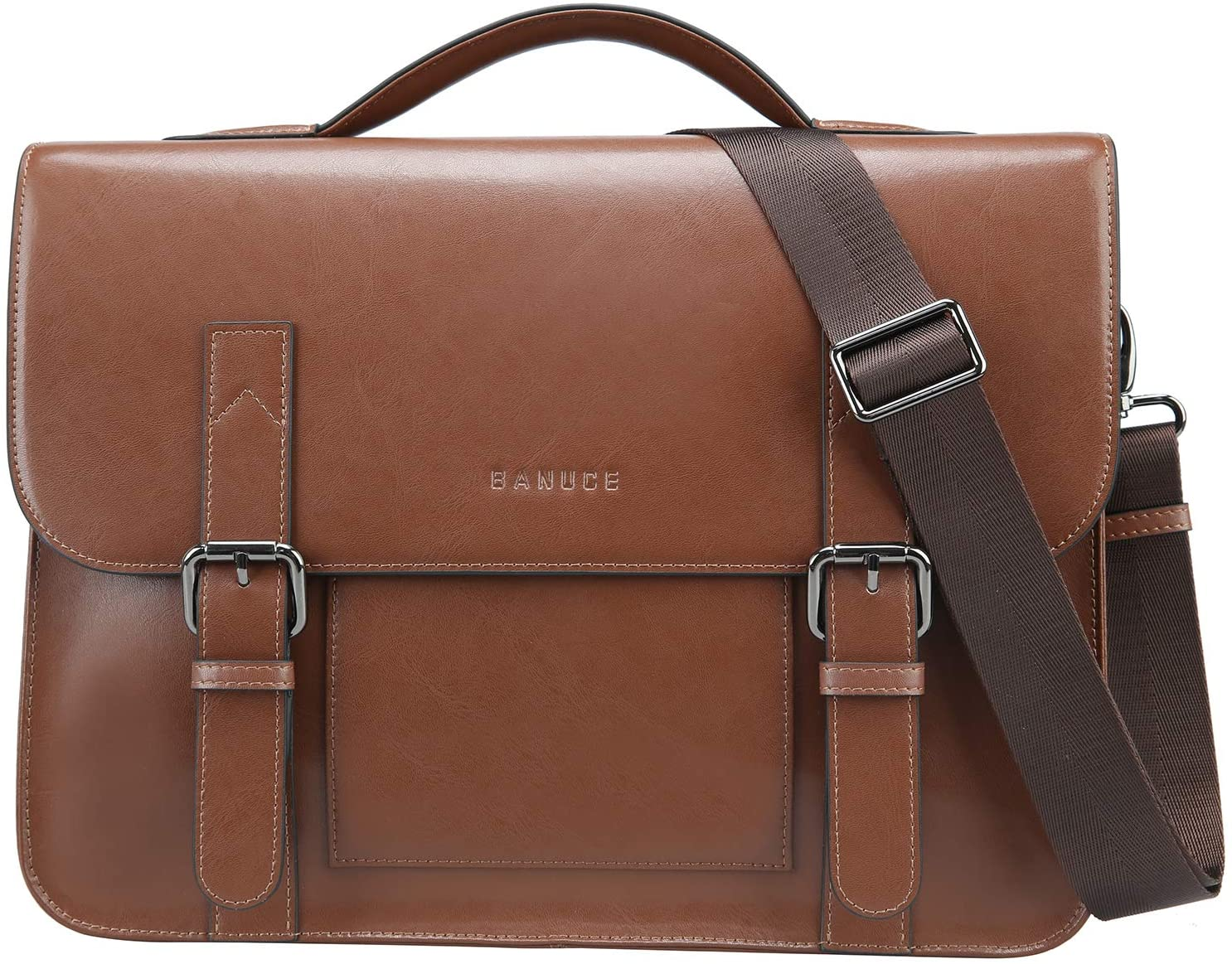 best work bags for men - brown leather briefcase