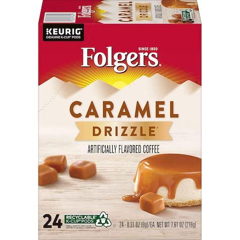 best keurig pods, folgers caramel drizzle