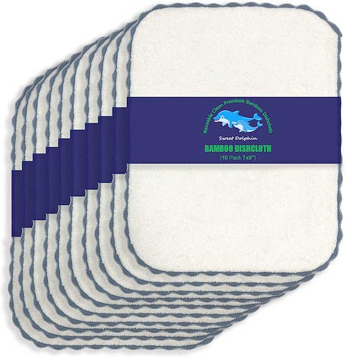 Sweet Dolphin 10 Pack Bamboo Kitchen Dishcloths