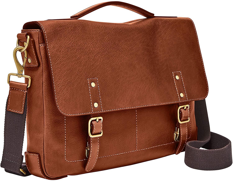 fossil leather messenger bag