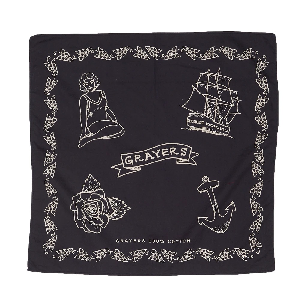 black bandana with ship and anchor graphic