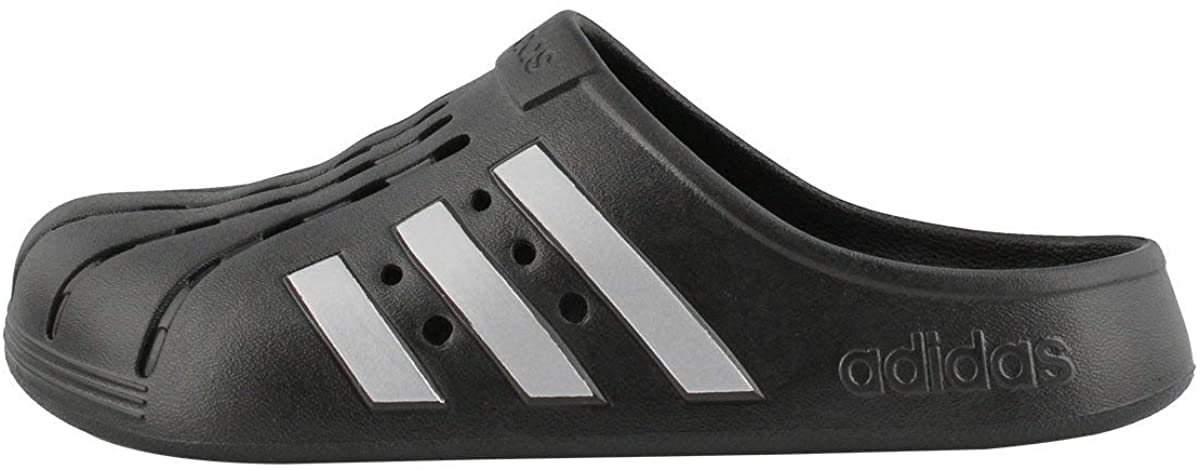 Adidas Adilette Clog Slide Sandal in black with white stripes