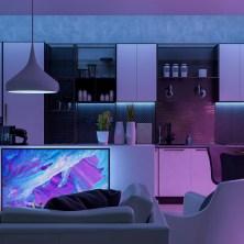 Modern Livingroom with colored led light - Smart home