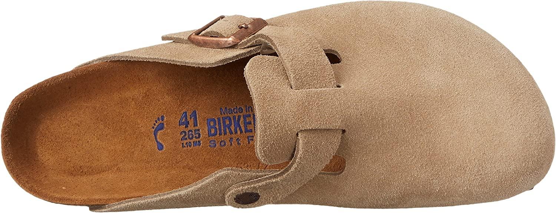 Birkenstock Boston Clog Sandal in taupe suede, best men's sandals