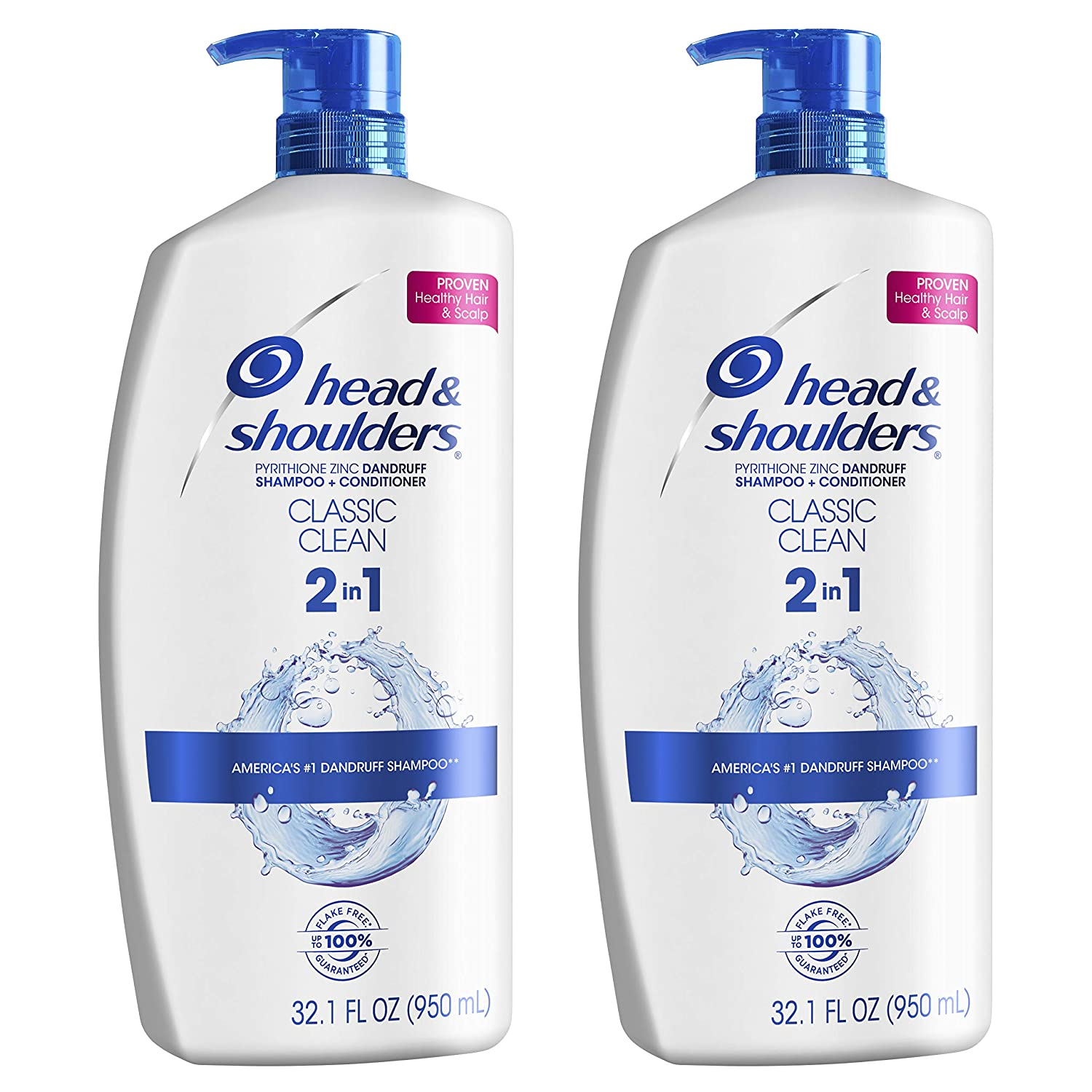 Head and Shoulders Shampoo and Conditioner 2-in-1 Anti Dandruff Treatment, two 32-ounce bottles
