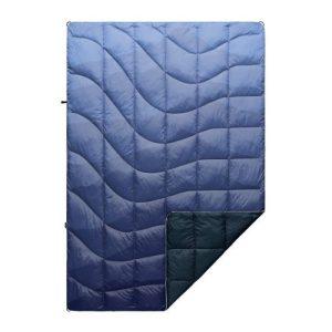 blue puffy down blanket