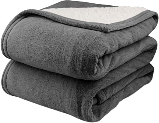 best outdoor blankets - Sherpa Electric Heated gray blanket