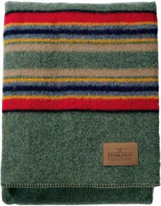 green and red striped wool blanket