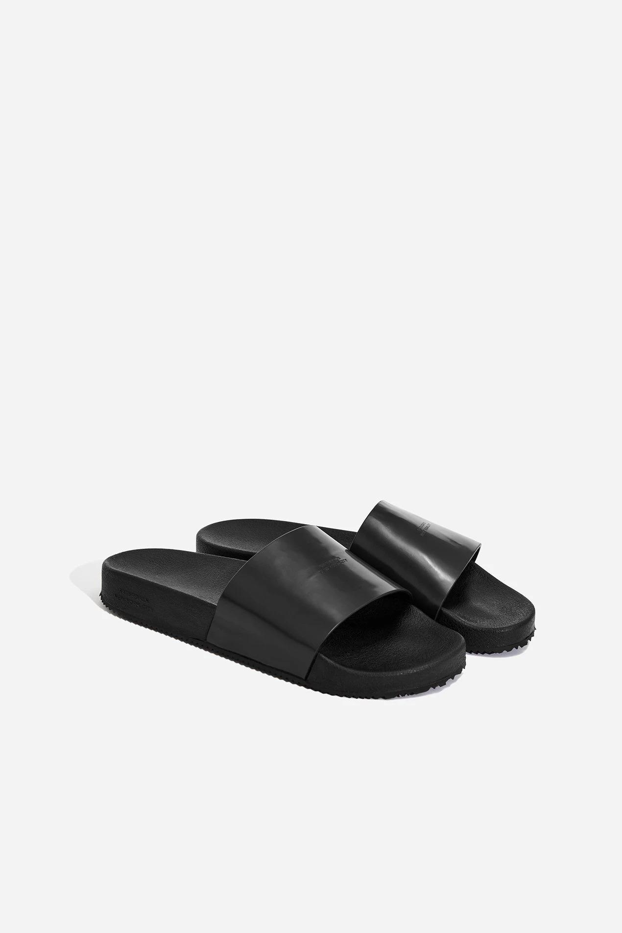 Saturdays NYC Banya Leather Slides in black