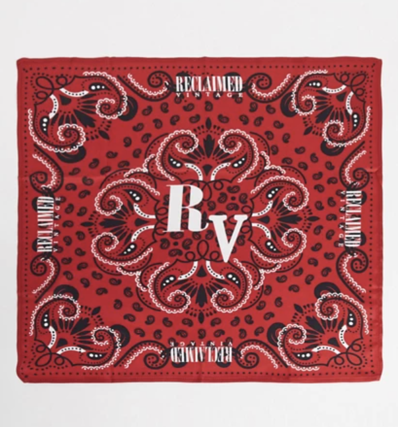 red paisley bandana with reclaimed vintage written on it