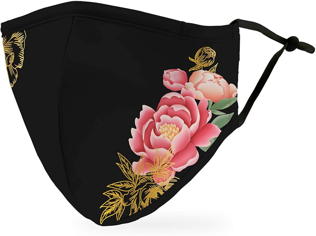 Weddingstar Washable Cloth Face Mask Black Modern Floral