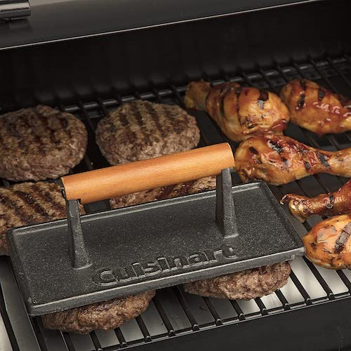 burgers being grilled with cuisinart cast iron grill press