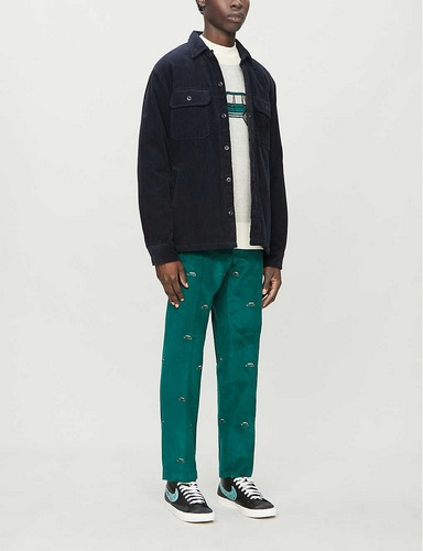 Aime Leon Dore car embroidered green corduroy pants