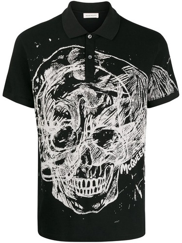 Alexander McQueen black and white skull print polo shirt