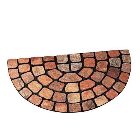 Collections Etc Raised Stone Slice Half-Circle Outdoor Rubber Door Mat