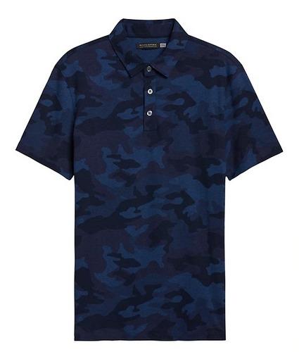 Blue camo print banana republic golf polo shirt