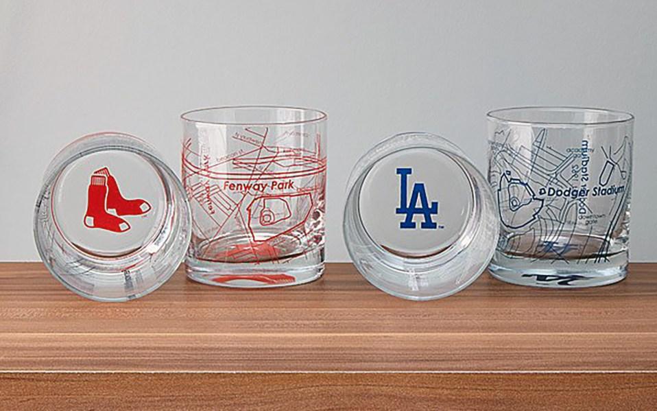 baseball park map whiskey glasses
